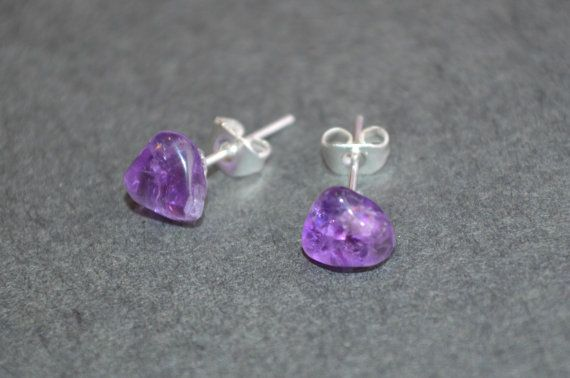 Amethyst Crystal Stud Earrings Silver Surgical Stainless Steel Hypoallergenic…