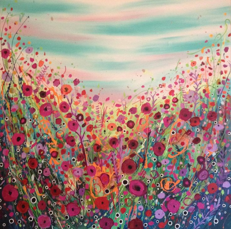 'There's Something in the Air' abstract art acrylic flower ... Easy Acrylic Flower Paintings On Canvas