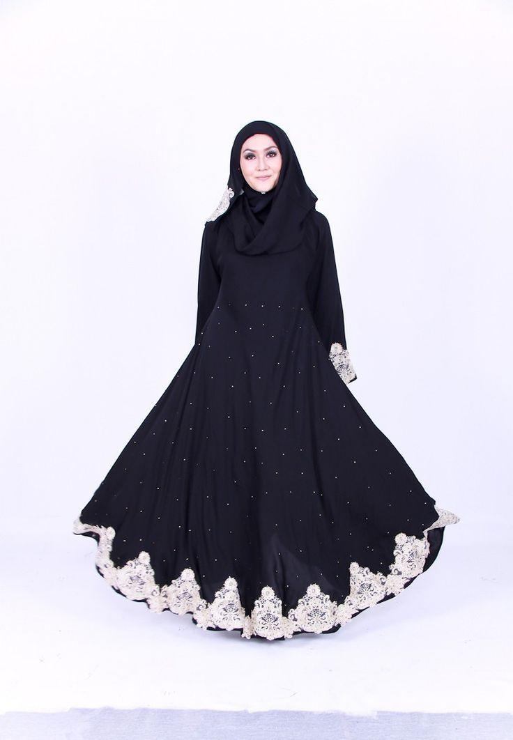 Buy ZanariQ Hyatt Beige Lace Princess Cut Jubah Online | ZALORA Malaysia