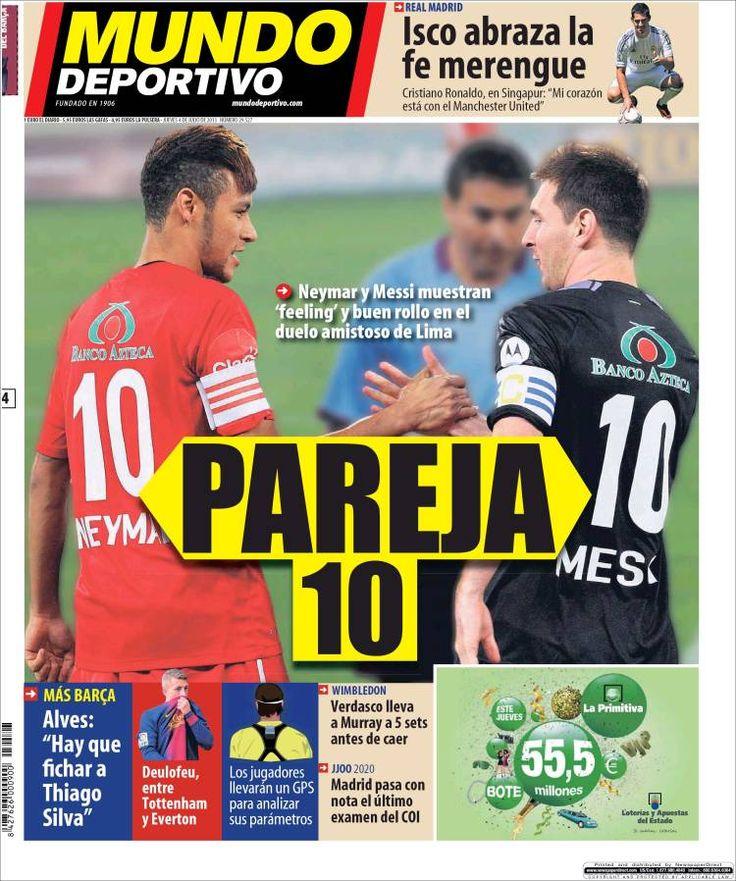 Los Titulares y Portadas de Noticias Destacadas Españolas del 4 de Julio de 2013 del Diario Mundo Deportivo ¿Que le parecio esta Portada de este Diario Español?