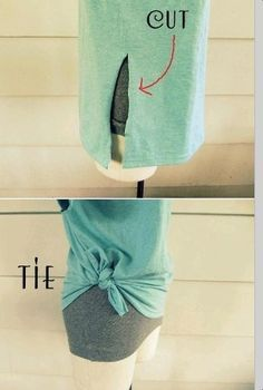 would love to try this on some of the old shirts dad gave me.... {One cut to Tie a T-Shirt…great for too big tshirts!}