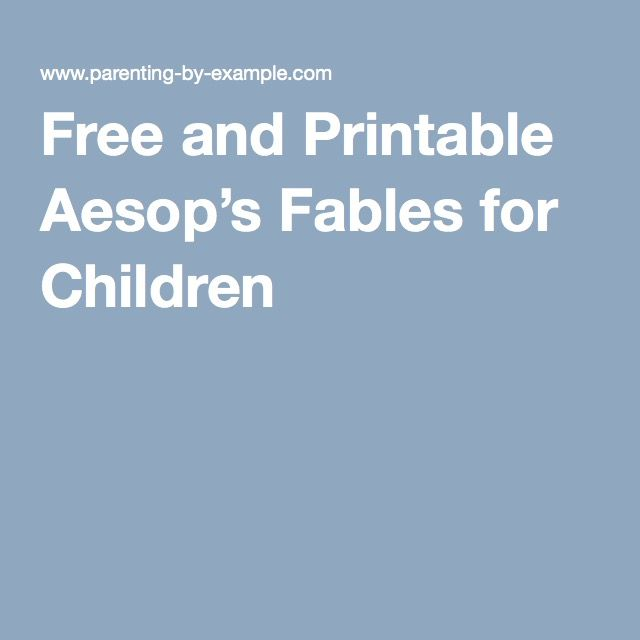 Free and Printable Aesop's Fables for Children