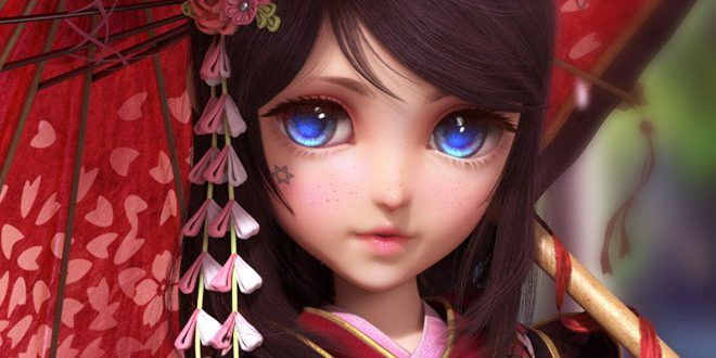 Japanese-Girl-3D-Art-by-Yun-Sihang