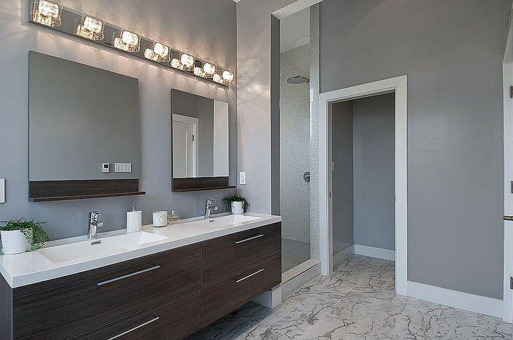 Bathroom. Dark Cabinets/light Countertop. Wall Paint Color.