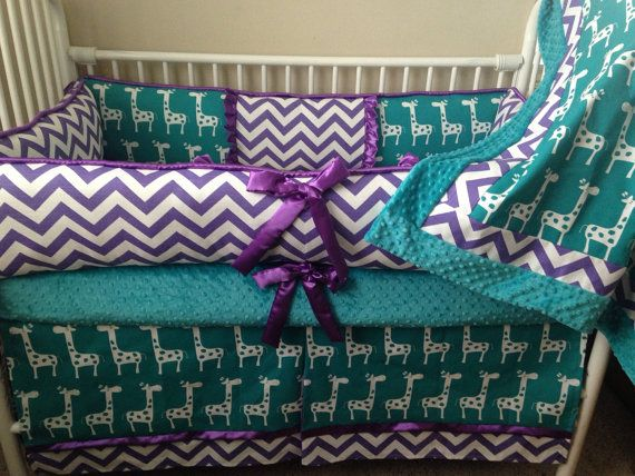 Purple and teal  Giraffe chevron Baby bedding Crib by abusymother