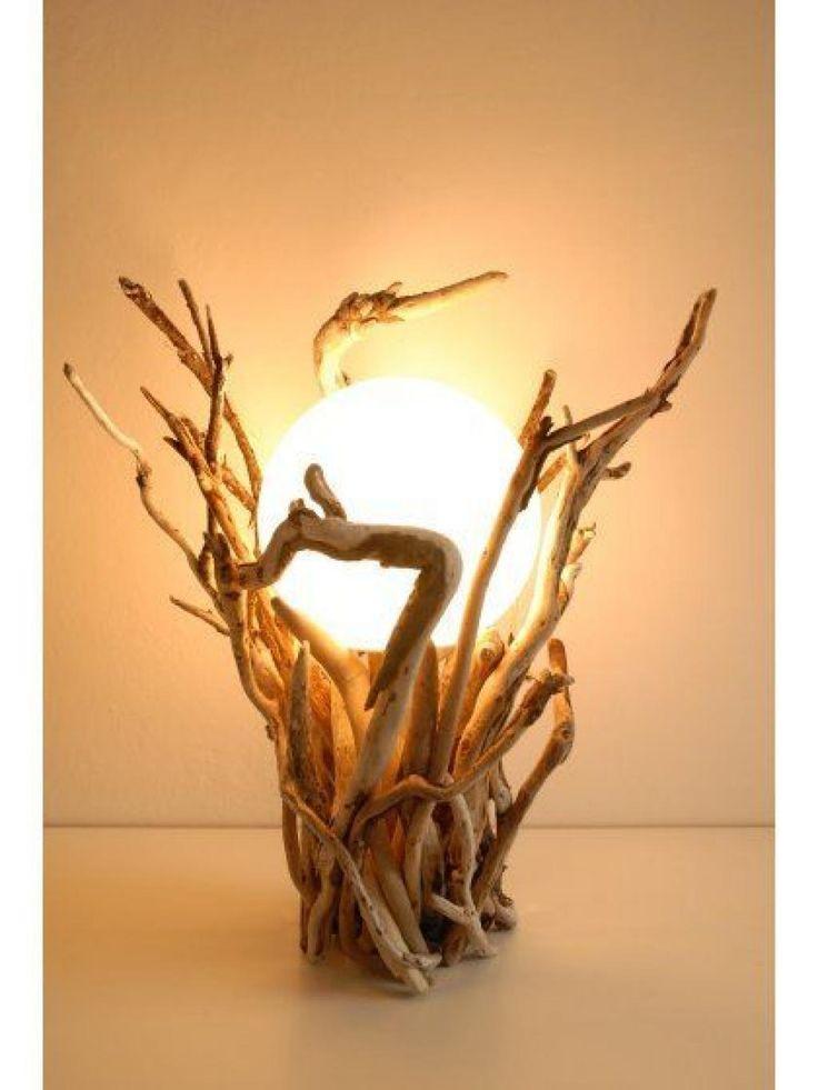 Wooden bottle desk lamp with white led strip. €55.00, via