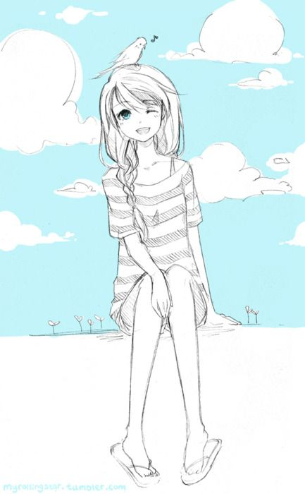 Blue skies ♥ Gurl you should probably get that pigeon off your head :P <<< I like this comment :3