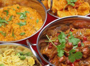 Indian prawn curry, lamb, chicken