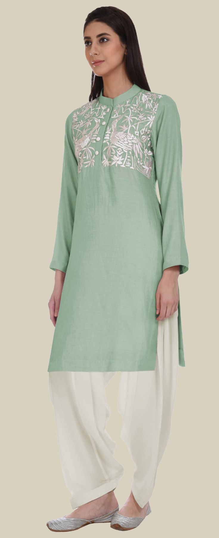 Sage Green Parsi Embroidered Patiala Salwar Suit