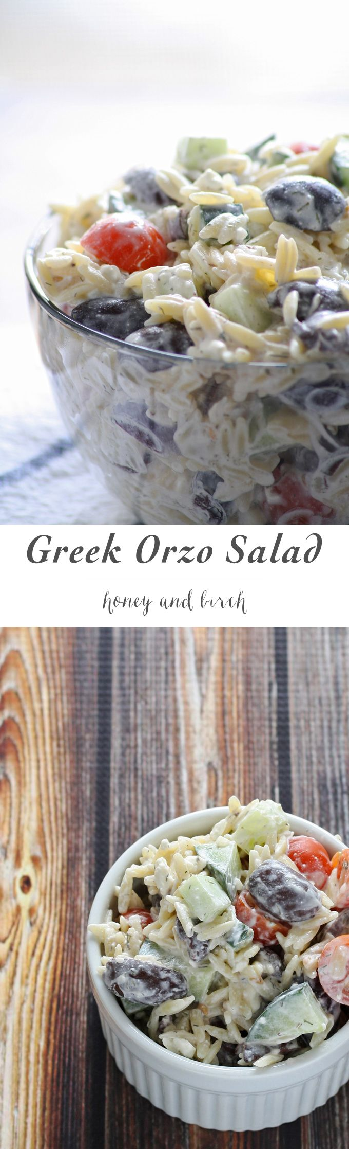 An easy and refreshing Greek orzo salad. Perfect for Kalamata olive lovers!   www.honeyandbirch.com