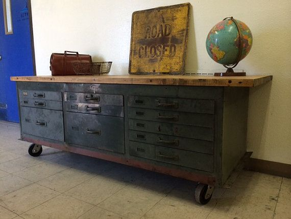 Butcher Block Workbench >> Industrial Chic Maple Butcher Block Cabinet with Heavy Gauge Steel Base Army Green Drawers ...