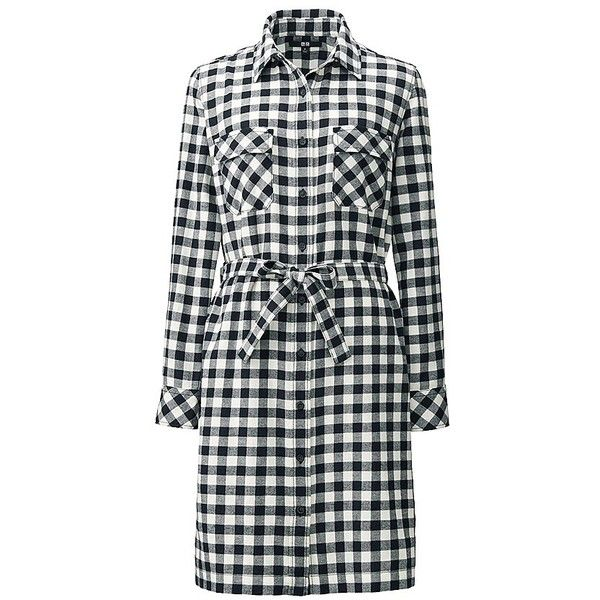 UNIQLO Flannel Long Sleeve Dress ($45) ❤ liked on Polyvore featuring dresses, checked dress, longsleeve dress, long sleeve dresses, uniqlo and sash belt
