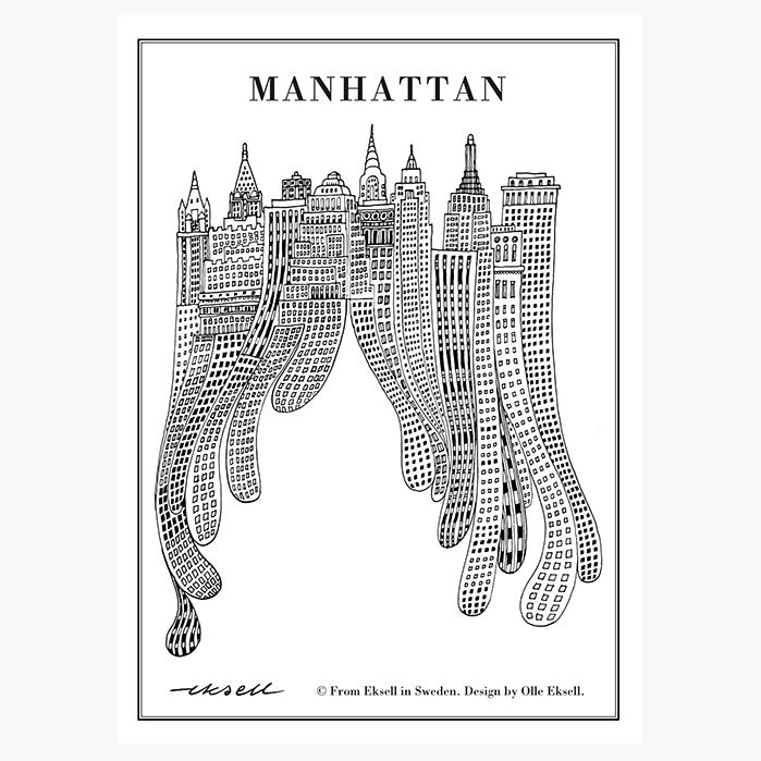 Manhattan poster designed by Olle Eksell - unframed (size 50 x 70 cm) | room to decorate | scandinavian and vintage designed homewares - online shop