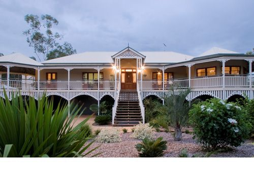 Front of The Ascot - high-pitched front rotunda, intricate timberwork and wide verandahs. Perfect for entertaining!