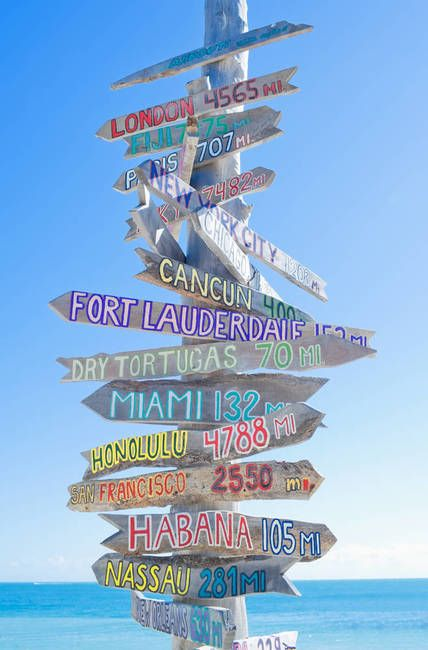 All directions sign post near seaside, Key West, Florida, USA. Photo: Marco Simoni.  Can't wait to see this in person in a few months!!!