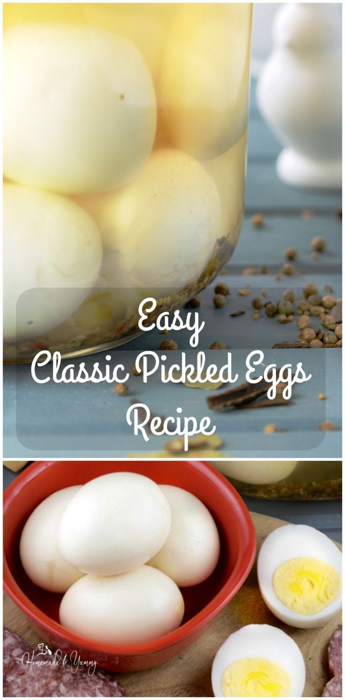 """A true pub favourite, this Easy Classic Pickled Eggs Recipe is done my way. So many variations competing for """"the best"""" tasting egg.   homemadeandyummy.com"""