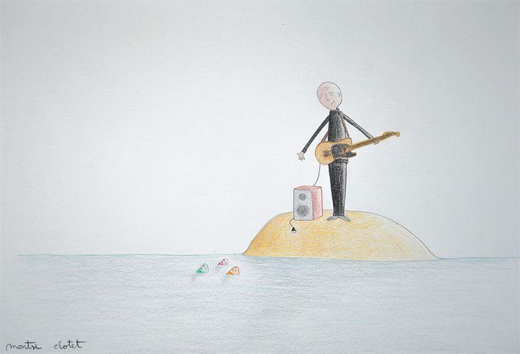 Dominique A in concert, by Montse Clotet. Illustration, pencil, music, dominique a, island, ocean, concert, guitar