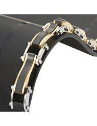 R&B Bijoux - Bracelet Homme - Gourmette Liens Style Vagues - Acier Inoxydable 316L (Or, Noir). 26,90€