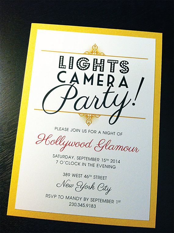 Hollywood Glamour / Oscar Night / Academy Awards / Red Carpet Invitation / Gold Shimmer Background Image