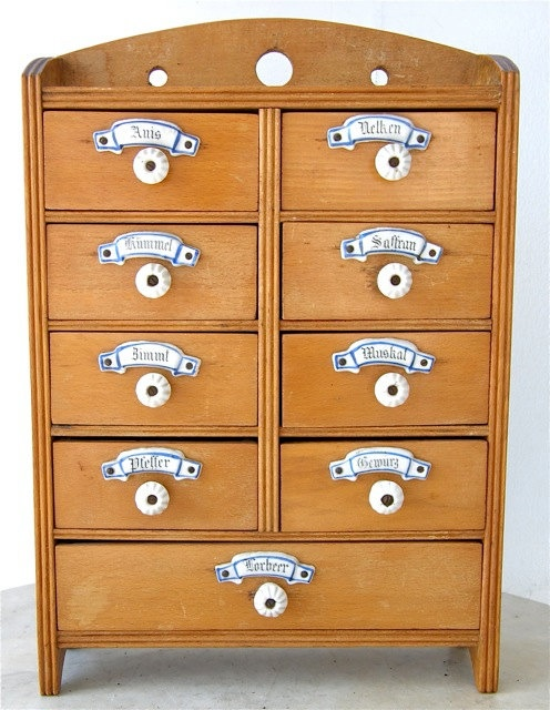 antique german spice cabinet 2