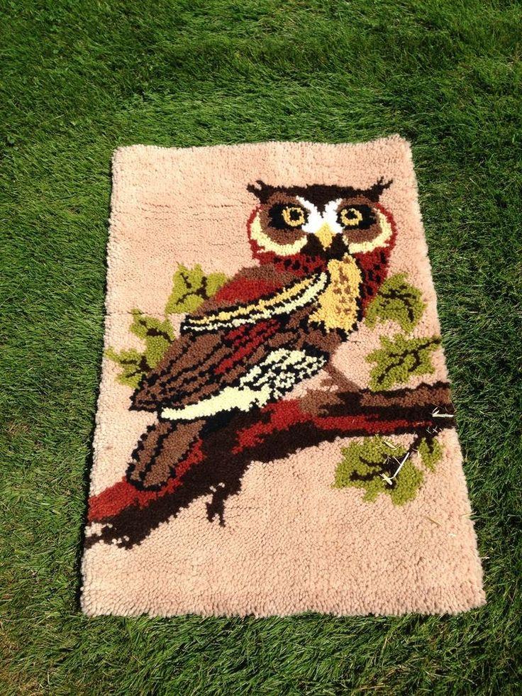 Owl Bird Latch Hook VINTAGE RUG PILLOW Hanging Handmade Retro Mid Century