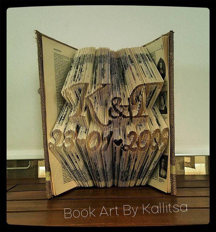 Δώρο ♥ Μονογράμματα ♥ Καρδιά ♥ Letters ♥ Book Folding ♥ Book Art ♥ Book Art By Kallitsa ♥ Δώρο επετείου Δώρο για επέτειο γάμου ή σχέσης #bookartbykallitsa #bookfolding #βιβλίο #ιδέες #δώρα