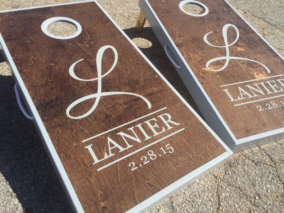 Dark Walnut Stained And Grey Sided Custom by WGCornhole on Etsy