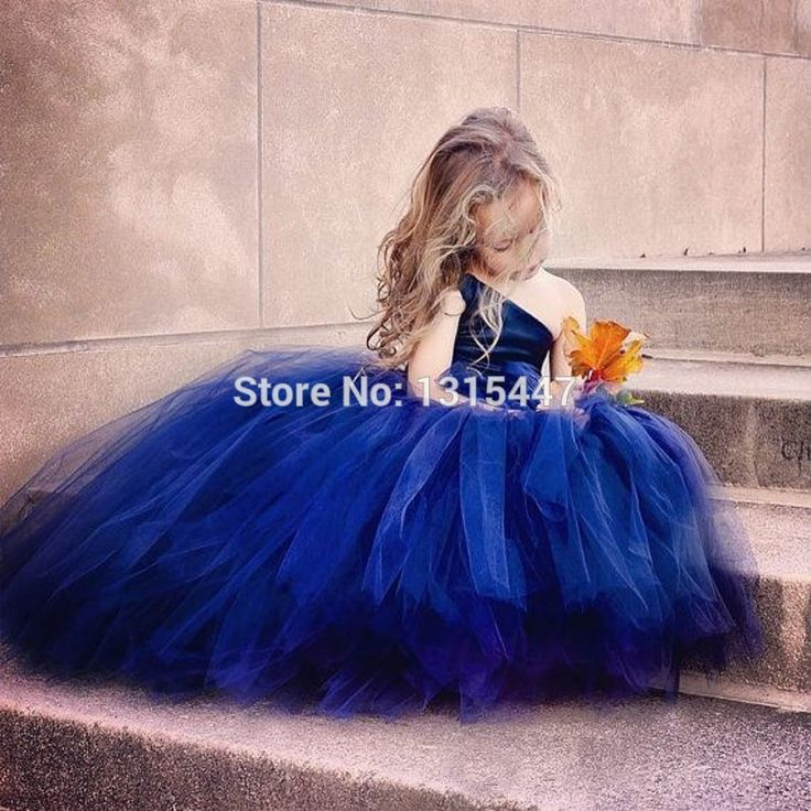 Cheap Royal Blue Flower Girls Dresses For Weddings 2017 One Shoulder Party Pageant Dresses For Little Girls Party Kids Gowns
