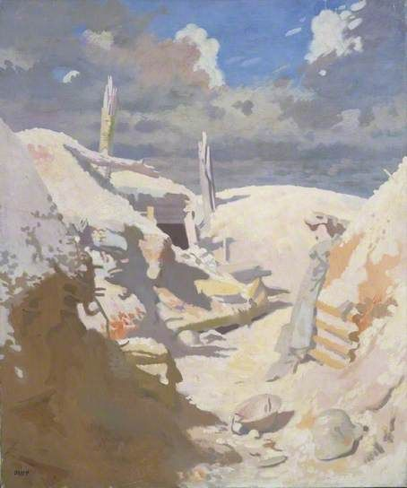 A Gunner's Shelter in a Trench, Thiepval - c1917, William Orpen.