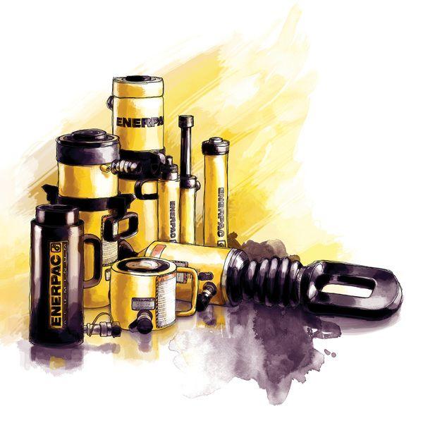 Enerpac Hydraulic Tools Illustration by Elizabeth Sutrisna, via Behance