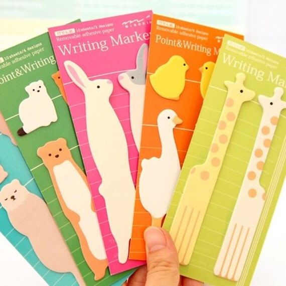 Cute sticky notes, Bookmark, cat sticky notes, penguin sticky notes, birds sticky notes, bear sticky notes, giraffe sticky notes by PokemonGarden on Etsy https://www.etsy.com/listing/181570485/cute-sticky-notes-bookmark-cat-sticky