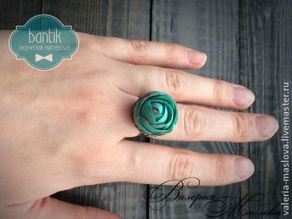 Кольцо с цветком из полимерной глины Мятная роза - мятный,кольцо,кольцо с розой