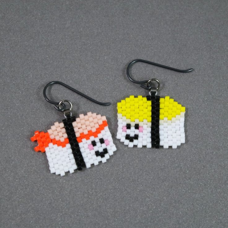 Yummy, happy sushi earrings, just please don't eat them :) I used Delica beads to make these tempting earrings - one a shrimp sushi, one an egg sushi. They measure 1 1/4 inches long, when measured fro