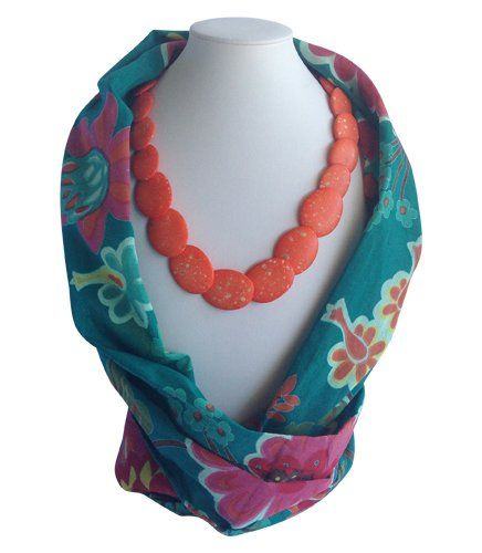 Teal Flower Beaded Scarf | Indigo Heart - Fair Trade Fashion A$23.95