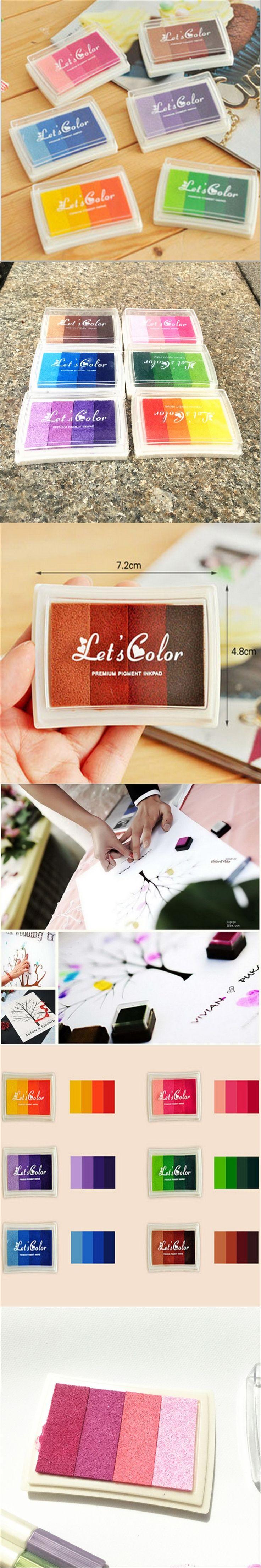 Hot 6pcs/lot Gradient Color Ink Pad DIY Scrapbooking Vintage Crafts Ink Pad Colorful Inkpad Stamps Sealing Decoration Stamp-B