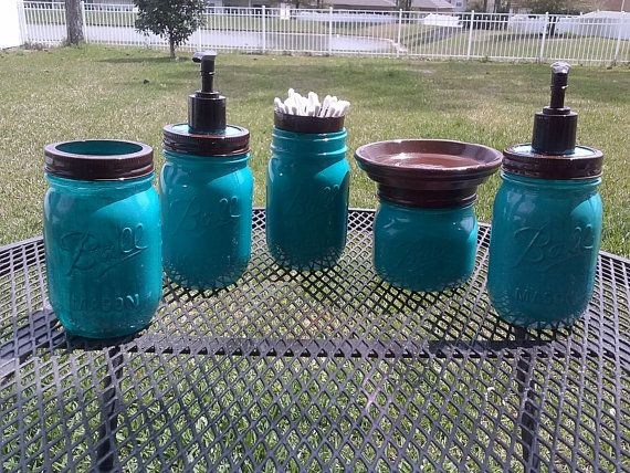 Ball Mason Jar Bathroom Set - Turquoise Blue and Brown - Full Bathroom Set or CHOOSE COLOR on Etsy, $35.00