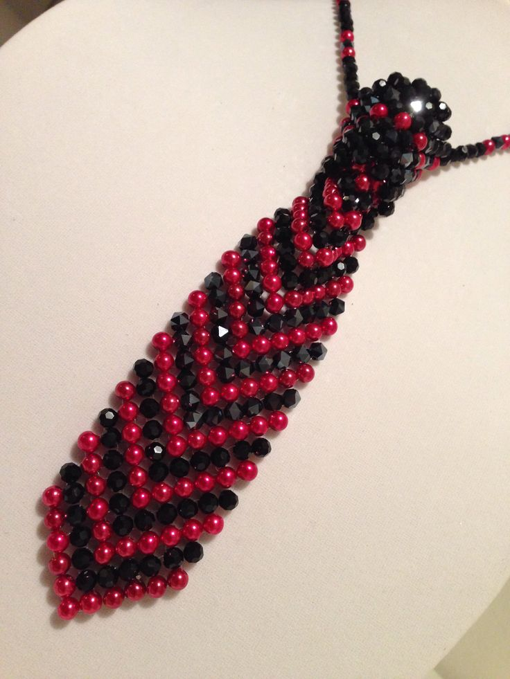 Black and Red Beaded Necktie. Made for a special teen. What colors do you want to see. ;-) Amy's Angels Jewelry