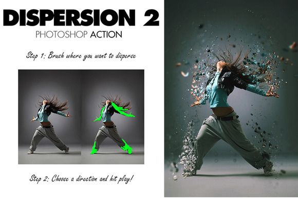 Cool! Dispersion 2 Photoshop Action by sevenstyles. Brush where you want to disperse, then run the action.