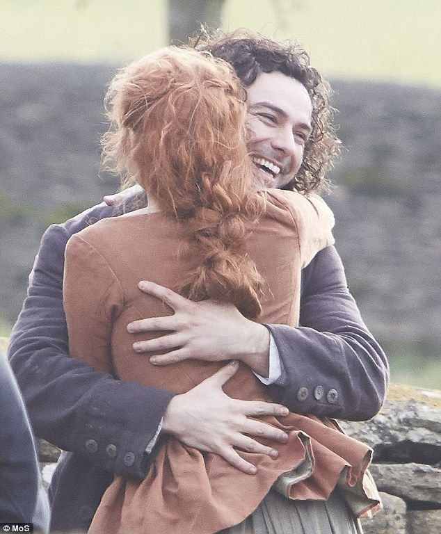 Heart-throb Aidan Turner, 33, who plays the troubled hero in the 18th Century Cornish saga, and 24-year-old Eleanor Tomlinson were filmed laughing and hugging joyfully