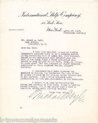 MICHAEL DOYLE INTERNATIONAL PULP COMPANY ANTIQUE AUTOGRAPH SIGNED LETTERHEAD '27