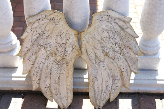 Rustic Angel Wings Set of Two  Soft Crackle Finish   $150.00 #wings #angel