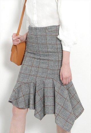 TARTAN ASYMMETRICAL SKIRT WITH FLOUNCE HEM