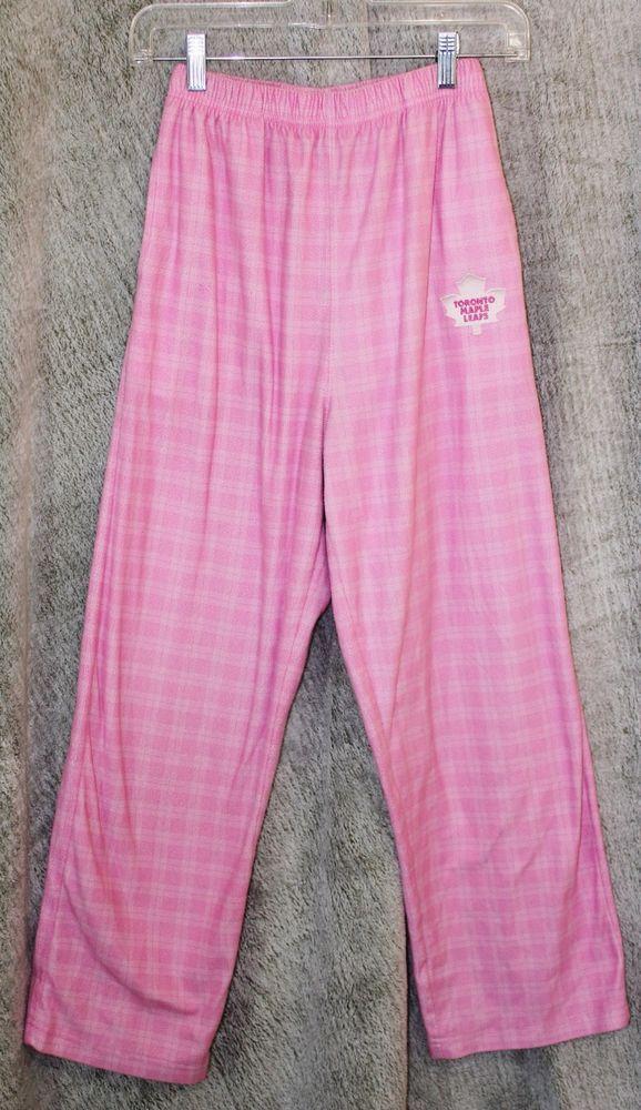 Reebok Girls Sz 14 NHL Toronto Maple leafs TML Pyjama Pajama Bottoms Pink Plaid #Reebok #PajamaBottoms