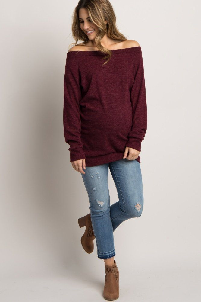 Can you say staple piece? This basic knit maternity sweater is perfect for the winter season, whether you are lounging at home or dressing up for a dinner. With a few stylish accessories, you can wear this knit maternity top anywhere.