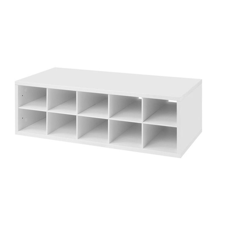 Organize your closet with this handy cubby storage box. Made from furniture-grade melamine, the white box holds up to 10 pairs of shoes and is wall-mountable allowing you to utilizes wasted space and keep your favorite pumps at eye level.