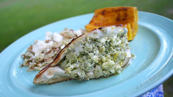 artichoke and goat cheese-stuffed chicken ... photo by Annie Babineau ...