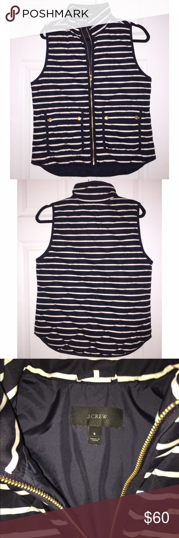 J Crew Excursion quilted striped vest Quilted Excursion Jcrew vest- only wore this once! Just like new. No stains or tears. Navy and white! J. Crew Jackets & Coats Vests