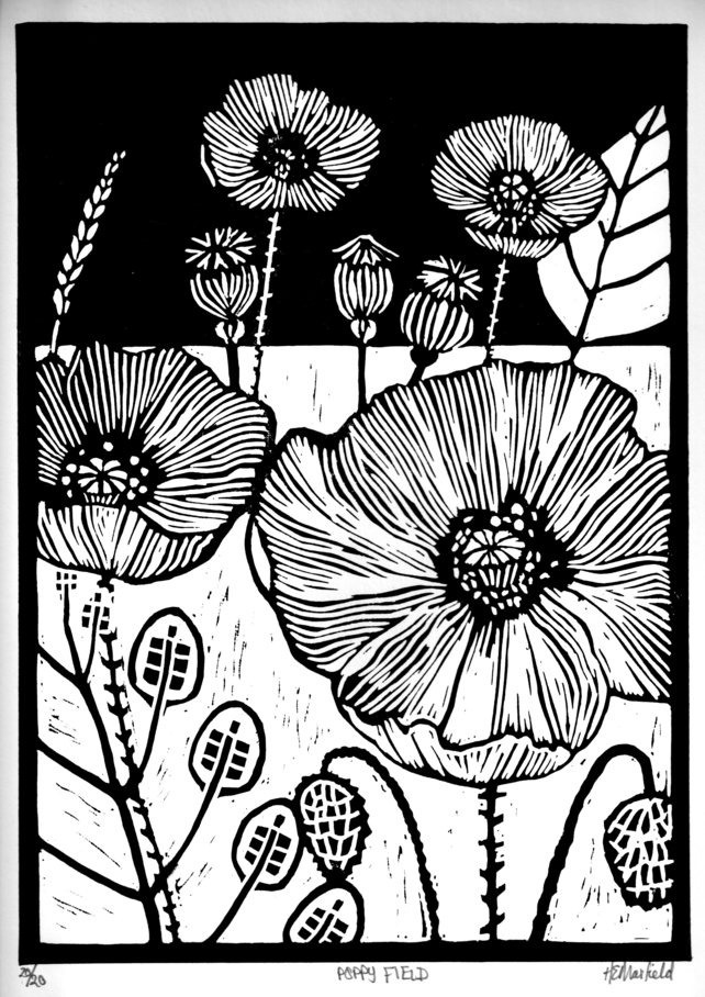 Poppy Field This lino print is hand pressed, black oil-based ink on 200gsm paper and the image measures 28 x 20cm. It is from an edition of 20 and is signed and titled.