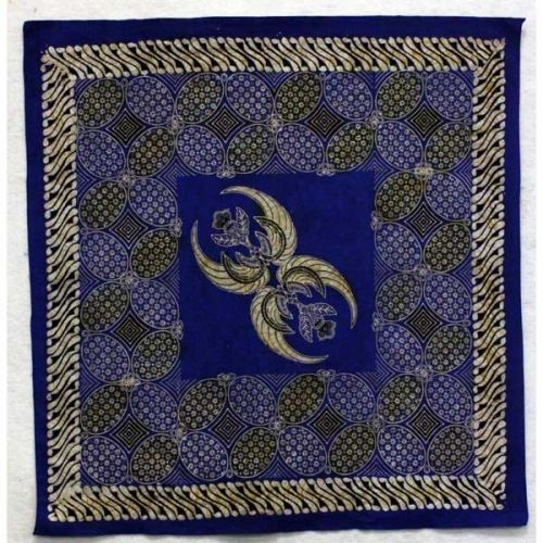 Square Batik Panel from IndonesiaThis handcrafted Batik Panel from Indonesia, 35 inches square, includes parangs and other traditional images in blues and white.