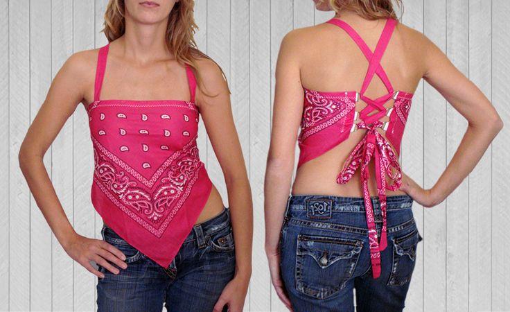 Bandana Top with Adjustable Straps   $39.50   Girls Gone Biker #bandanatop #halter